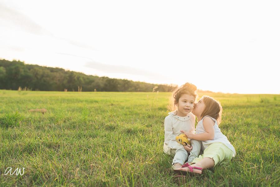 two girls in a field