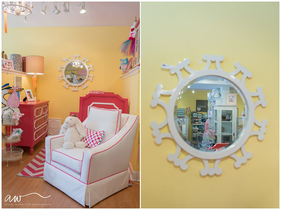 Nursery decor at a baby clothing boutique in tampa