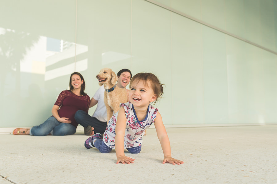 Family at a maternity session in front of the Art Museum at Curtis Hixon Park.