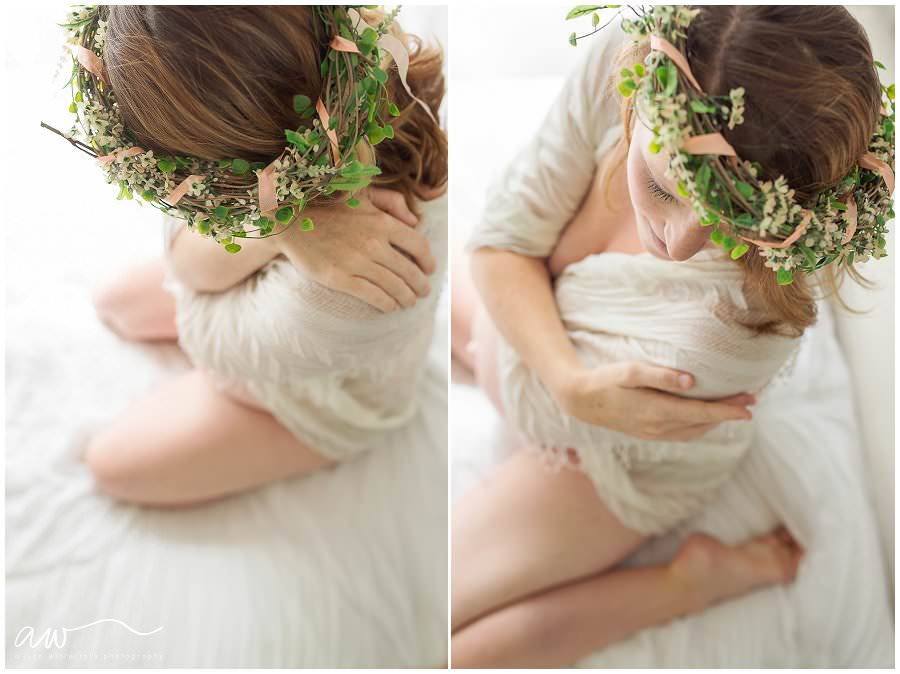 Pregnant mom on a bed with a flower crown.