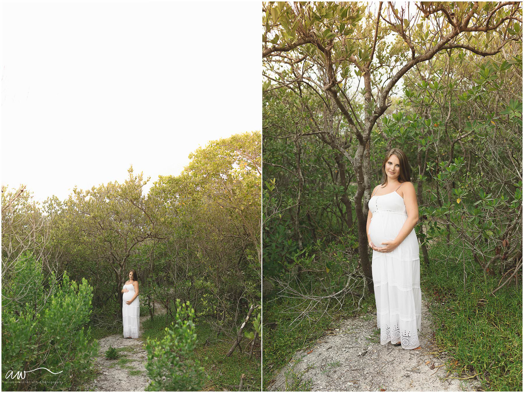 Pregnancy Pictures of a mom in a white dress in Tampa, FL at the beach.