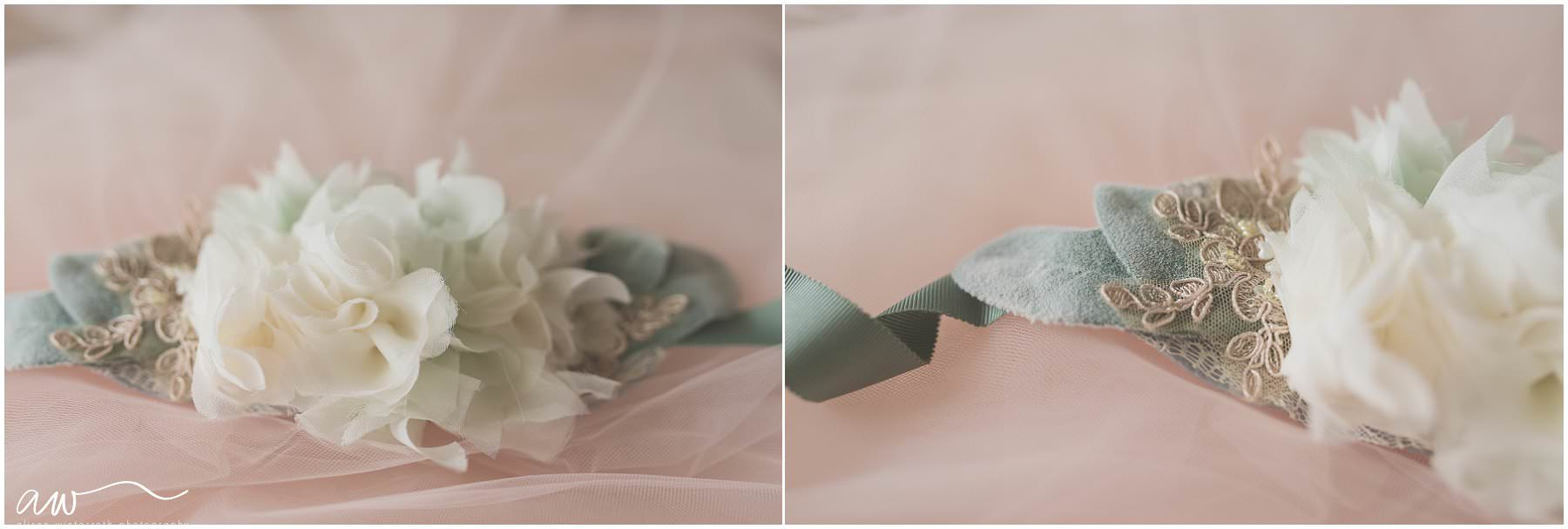 Tulle flower belt with dusty miller for a maternity session in Tampa, Fl