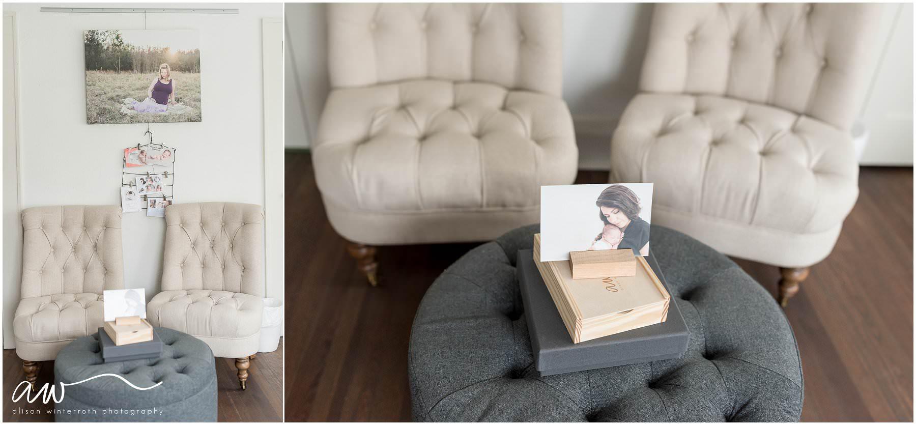 Linen chairs in newborn studio
