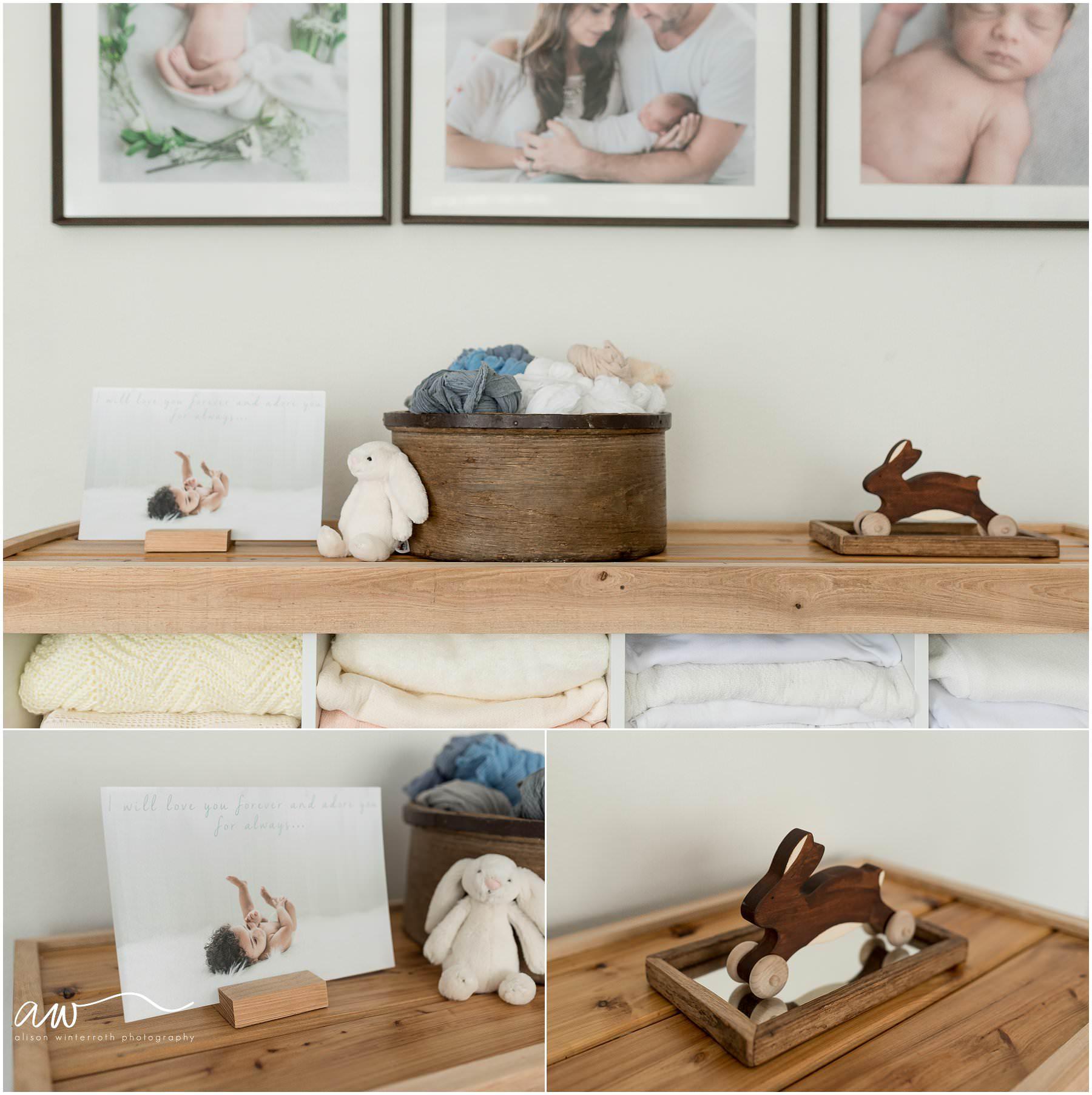 A blanket holder in a newborn studio