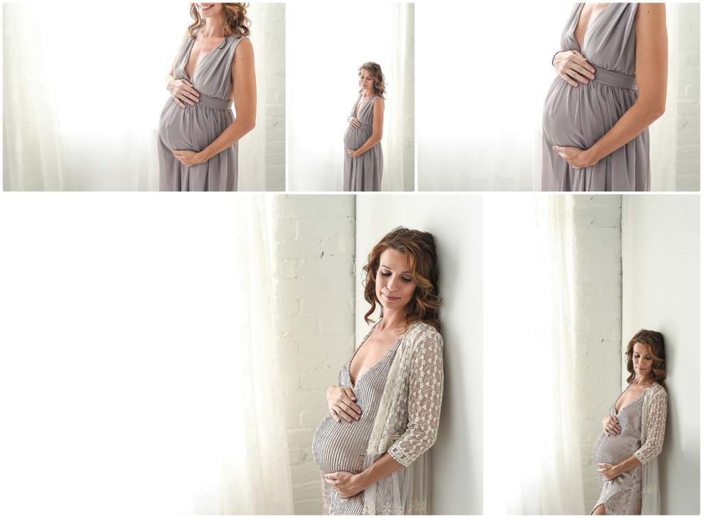 a gorgeous pregnant mom is a sequin dress