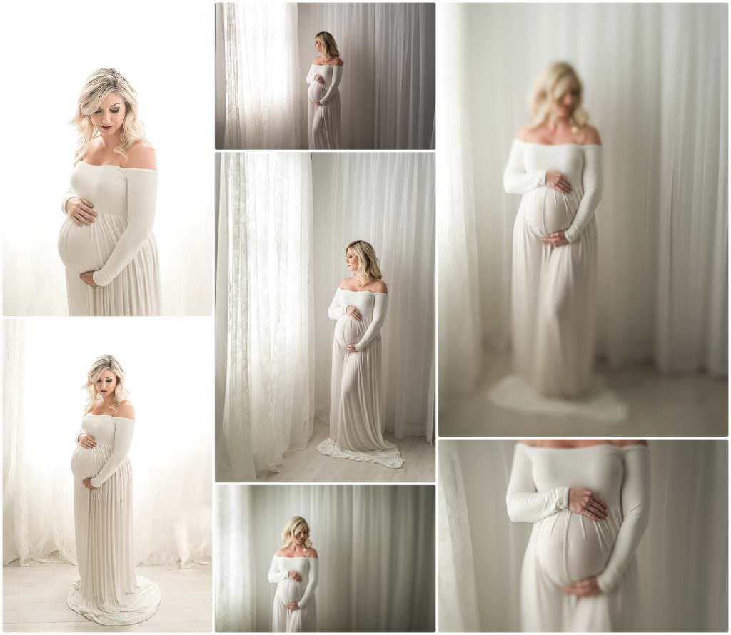 pregnant woman in a white dress in tampa studio