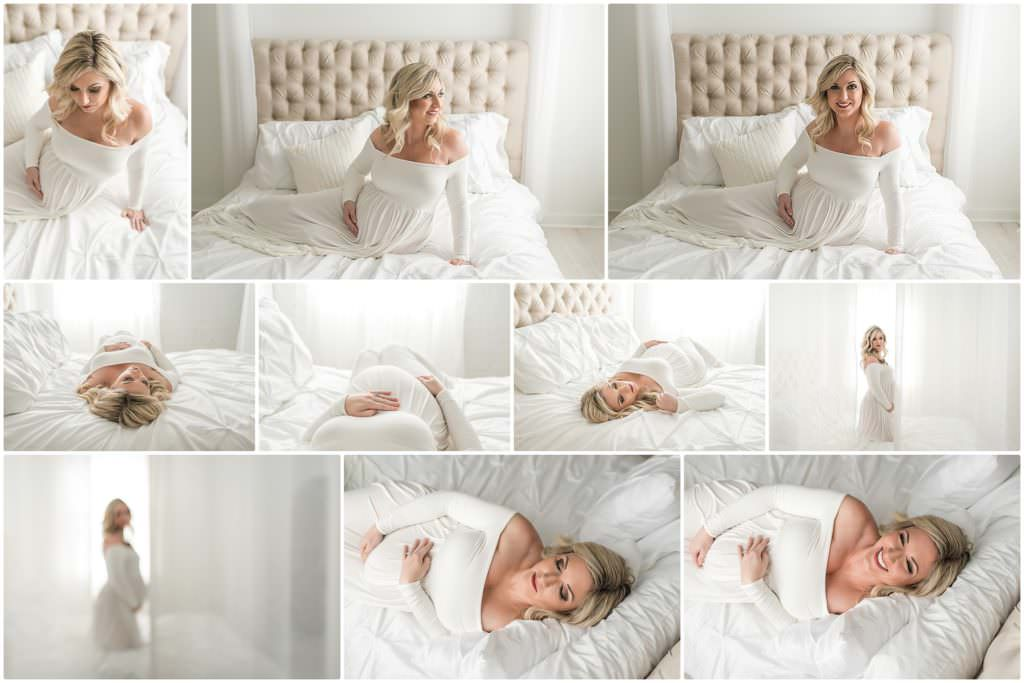 beautiful blonde pregnant woman in a bed