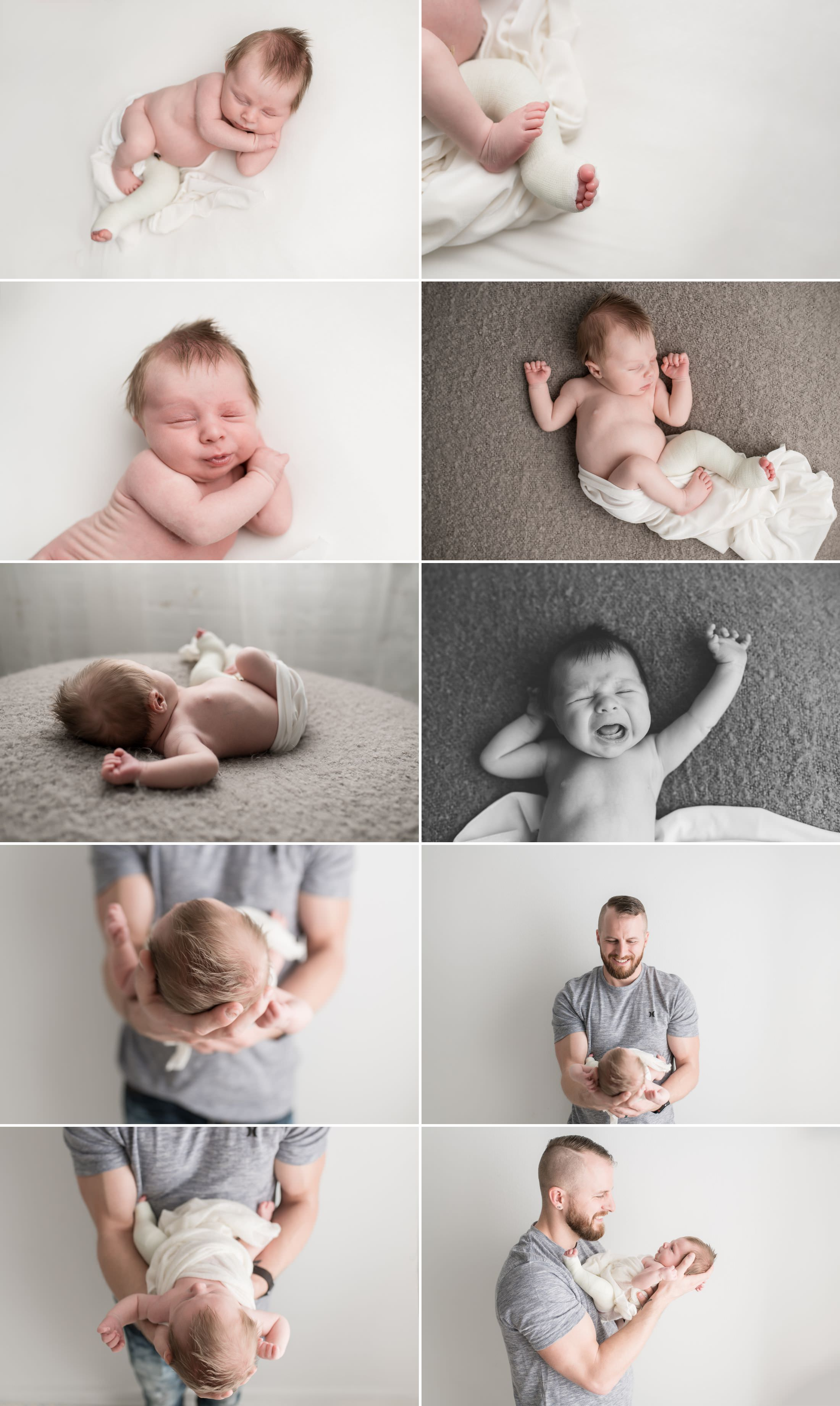 a collage of a baby being held by his father and yawning on a bed