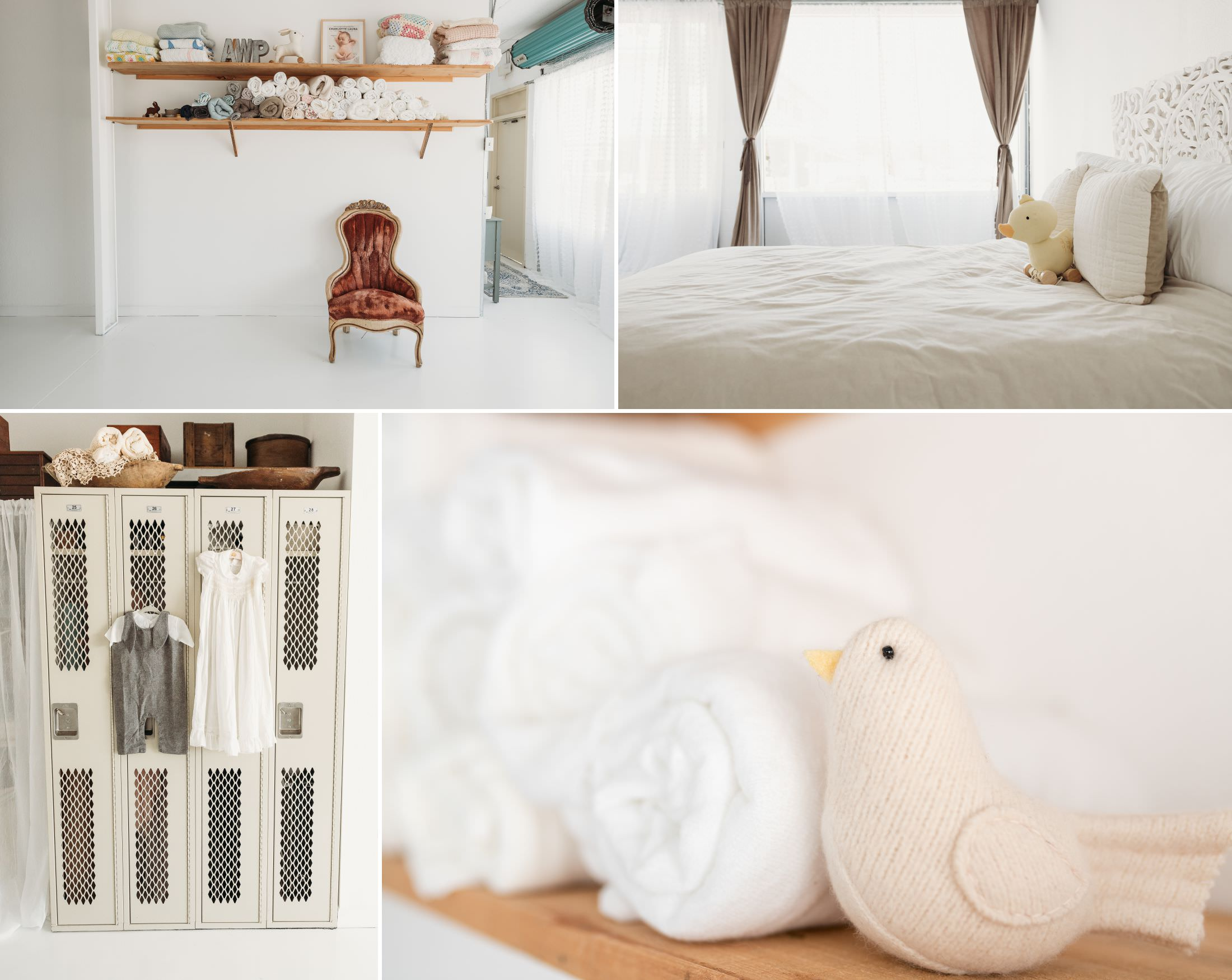 a collage of images of a newborn studio in Tampa