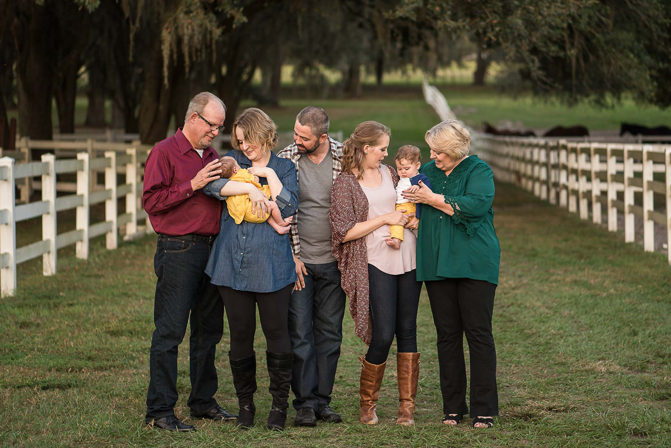 an extended family outdoors at Lange Farms in Dade City